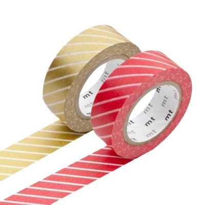 Masking Tape - Stripe, red & Stripe, gold