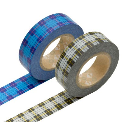 Masking Tape - Tartan-checked, blue & Tartan-checked, gray
