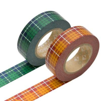 Masking Tape - Tartan-checked, green & Tartan-checked, orange