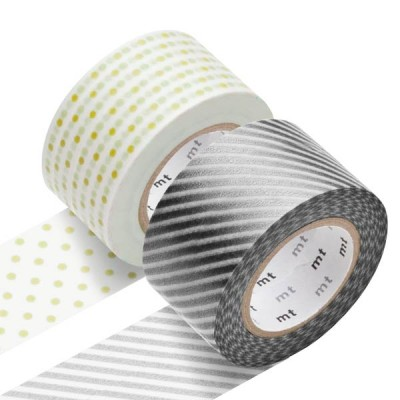 Masking Tape - Wide (H) – Stripe, silver & Dot, gold