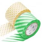 Masking Tape - Wide (L) - Stripe green & Dot, apricot