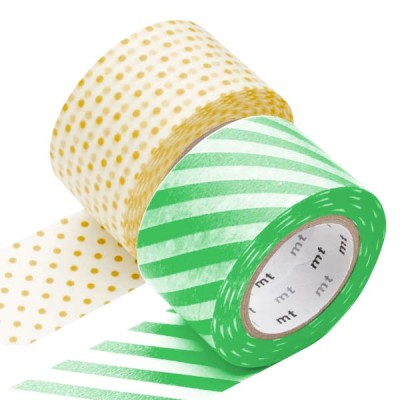 Masking Tape - Wide (L) - Stripe green & Dot, apricot