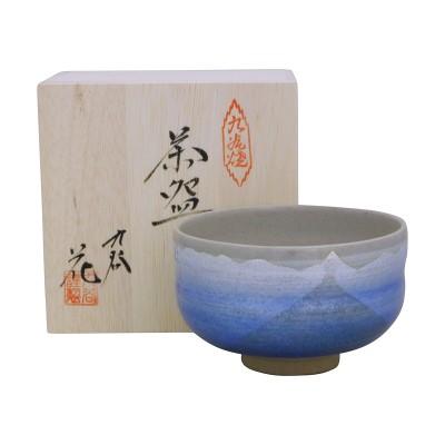 Matcha Schale - Kutani Ao Ginsai im Holzkasten