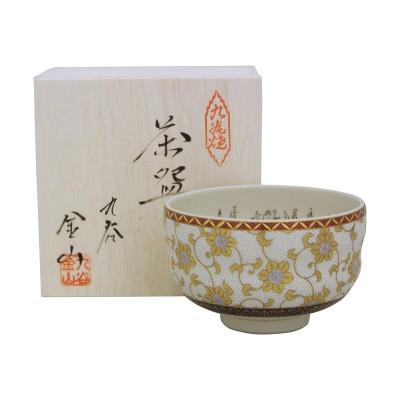Matcha Schale - Kutani Shirotsubu im Holzkasten