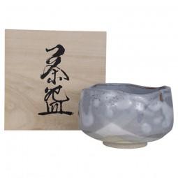 Matchaschale Nezumi Shino im Holzkasten