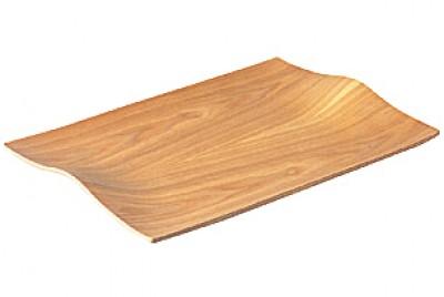 NONSLIP Tablett aus Weidenholz mit gewölbten Griffen - 2er Set