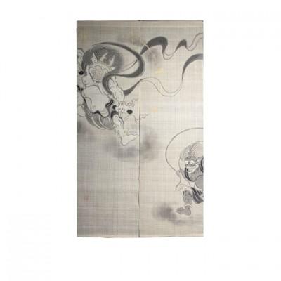 Noren - Fujin-Raijin, Leinen beige, 88x150cm