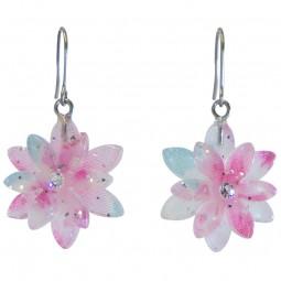 Ohrring - Doppel-Kirschblüte blau hängend