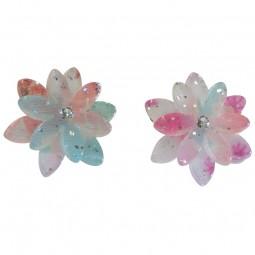 Ohrring - Doppel-Kirschblüte blau