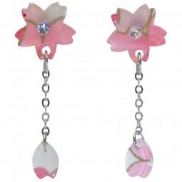 Ohrring - Sakura mit Blütenblatt rosa