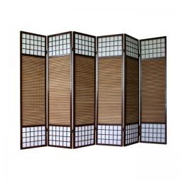 Paravent - Shoji mit Bambuslamellen - 6 Flügel