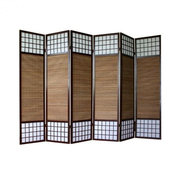 paravent shoji mit bambuslamellen 6 fl gel japanwelt. Black Bedroom Furniture Sets. Home Design Ideas