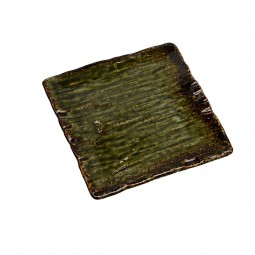 Porzellanteller 'Grüne Oribe' quadratisch
