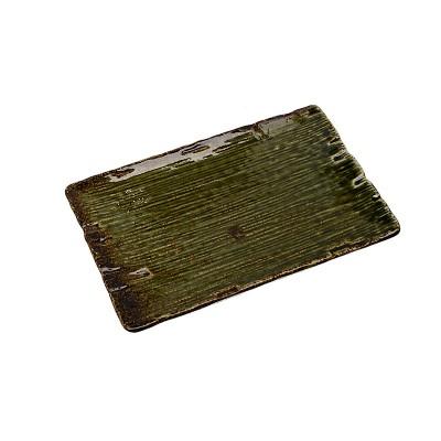 Porzellanteller 'Grüne Oribe' rechteckig