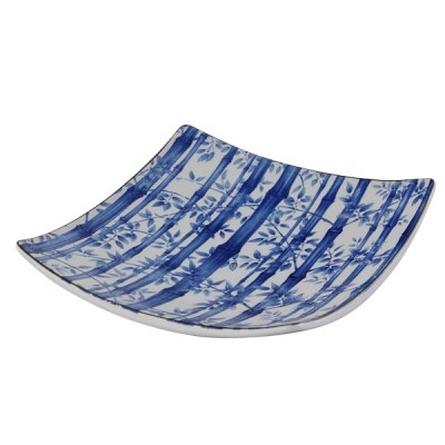 Quadratischer Teller - Blauer Bambus