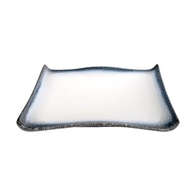 Servierplatte gewölbter Rand 'Tajimi' schwarz-weiß