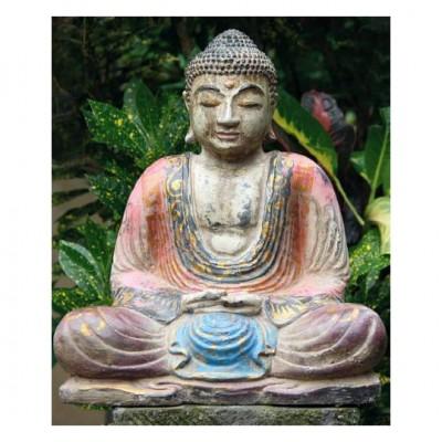Sitzender Buddha - bemalter Steinguss Antik-Finish