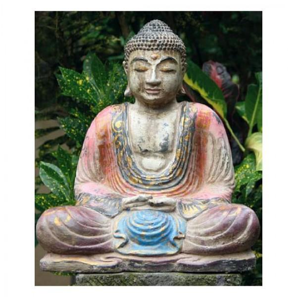sitzender buddha bemalter steinguss antik finish figuren skulpturen garten japanwelt. Black Bedroom Furniture Sets. Home Design Ideas