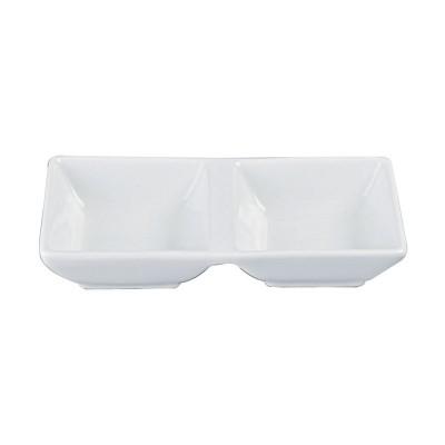 Sojasaucen-Schälchen 2 Kammern I 'Weiße Serie'