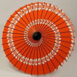 Sonderposten Sonnenschirm Blätterranke rot, Griff schwarz