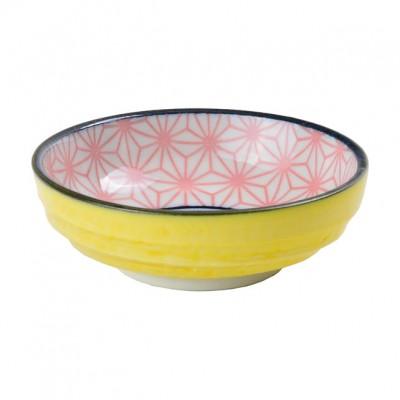 Soßenschale 'Asanoha Seigaiha – Pink/Gelb'