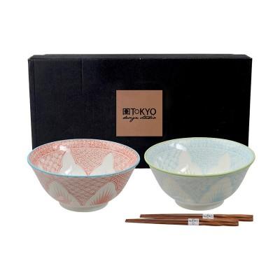 Speiseschalen-Set 'Koi Seigaiha' 15x7cm mit Essstäbchen