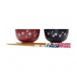 Speisschalen-Set mit Stäbchen - Sakura