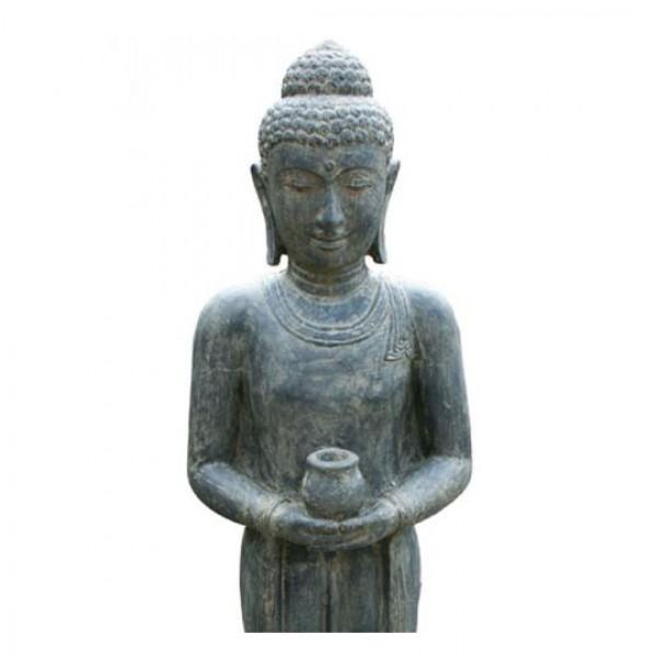 stehender buddha lavaguss figuren skulpturen garten japanwelt. Black Bedroom Furniture Sets. Home Design Ideas