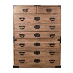Tansu Schubladen-Schrank aus Kiriholz hoch mit Beschlägen