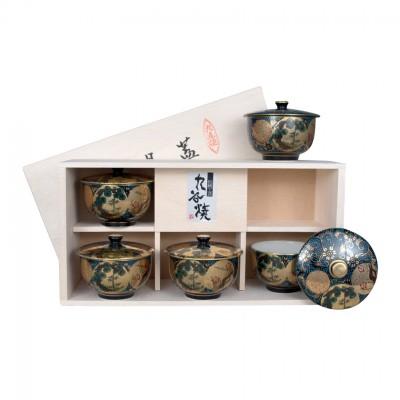 Teebecher mit Deckel Set - Kutani - 5er Set