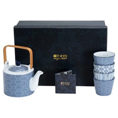 Teekanne mit Teebechern Japan Blau