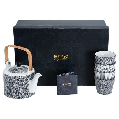 Teekanne mit Teebechern Japan Schwarz