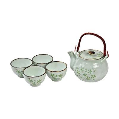 Teeservice 'Grüne Kosmee' Teekanne mit 4 Teebechern
