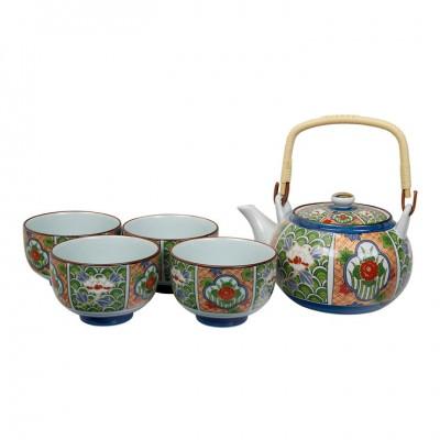 Teeset Arita Grüne Blüten - 1 Kanne 750ml, 4 Tassen