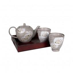 Teeset auf Tablett - Tsubaki 2 Teebecher + Kanne 400ml + Tablett