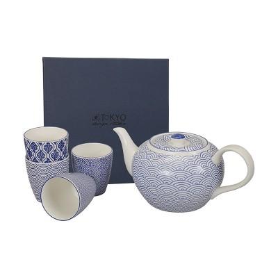 Teeset 'Japan Blau' - Kanne mit 4 Bechern