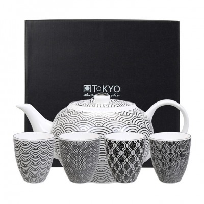 Teeset - Japan Schwarz - Seigaiha - Teekanne und 4 Tassen