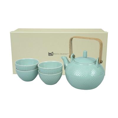 Teeset mit Struktur Jadegrün - Mizutama - Kanne 0,8l mit 4 Tassen