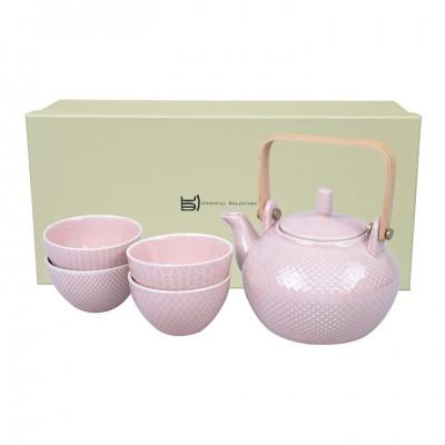 Teeset mit Struktur rosa - Mizutama - Kanne 0,8l mit 4 Tassen