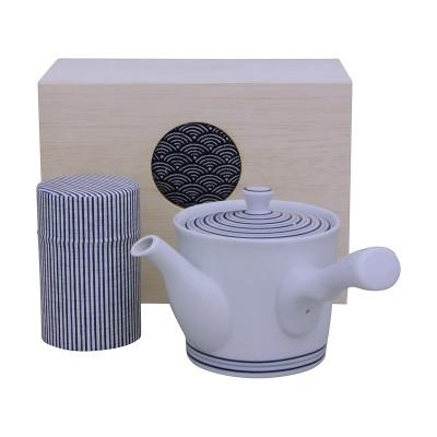 Teeset - Uzu im Holzkasten - Teekanne 410ml + Teedose 100g