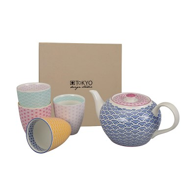 Teetassen-Set mit dunkelblauer Kanne 'Asanoha Seigaiha'