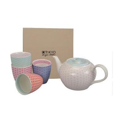 Teetassen-Set mit rosa Kanne 'Asanoha Seigaiha'