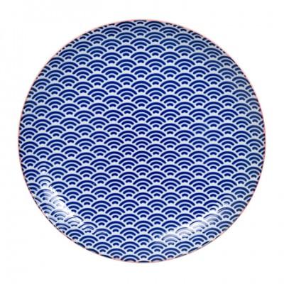 Teller 'Asanoha Seigaiha - Blau/Pinker Rand' 25,7cm