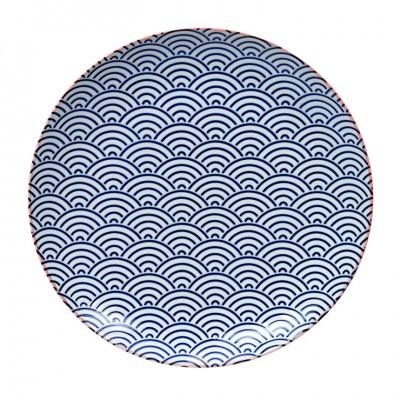 Teller 'Asanoha Seigaiha - dunkelblau, mit pinkem Rand' 25,7cm