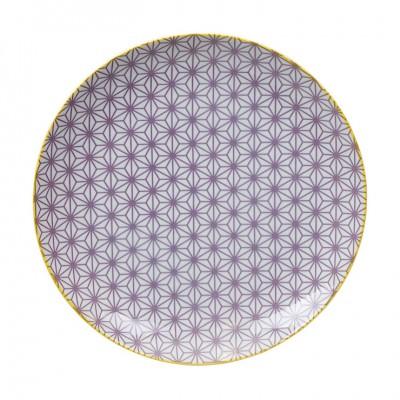 Teller 'Asanoha Seigaiha - Lila/Gelber Rand' 25,7cm