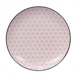 Teller 'Asanoha Seigaiha - Pink/Dunkelblauer Rand' 25,7cm