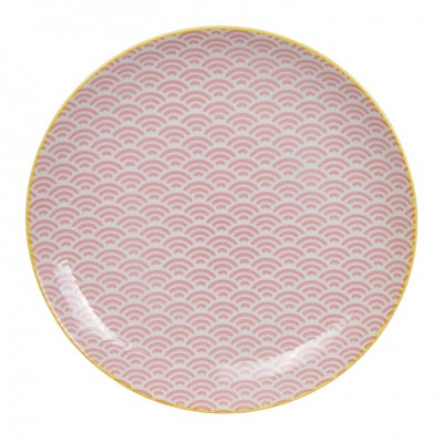 Teller 'Asanoha Seigaiha - Pink/Gelber Rand' 25,7cm