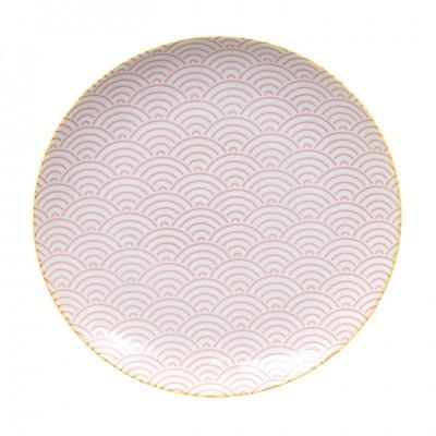 Teller 'Asanoha Seigaiha - pink, mit gelbem Rand' 25,7cm
