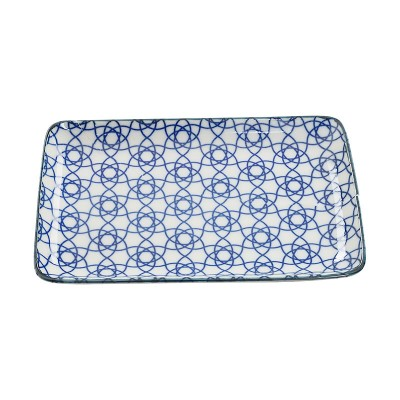 Teller 'Japan Blau – Kagome Hana' 21x13,5cm rechteckig