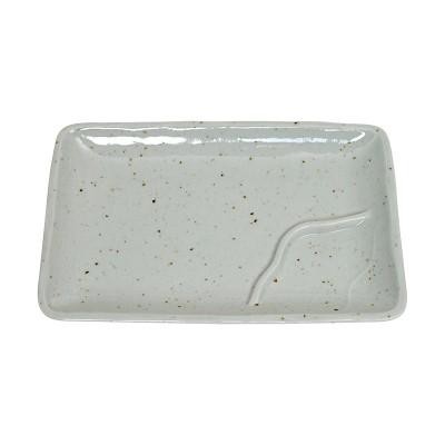 Teller mit Trenner - Keramik natur - 17,5 x 11,5cm
